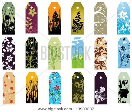Set of  different vector floral  bookmarks for design use