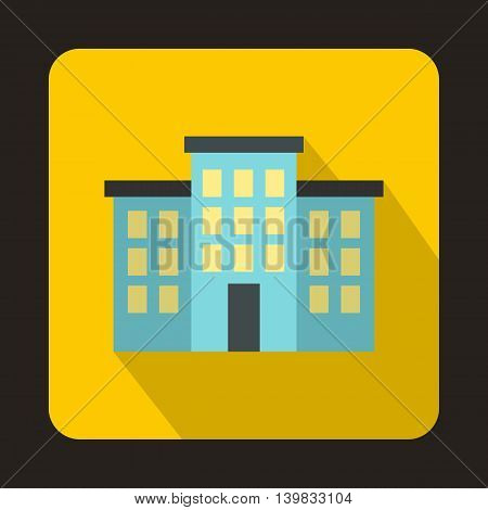 Building icon in flat style on a yellow background