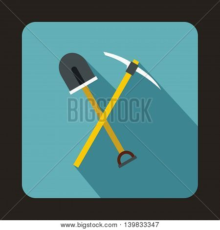 Pick tool and shovel icon in flat style on a baby blue background