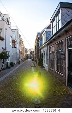 Exploding ball on street in Haarlem The Netherlands