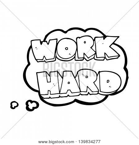 freehand drawn thought bubble cartoon work hard symbol