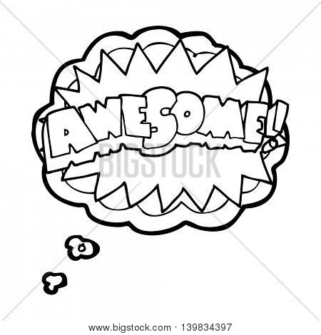 freehand drawn thought bubble cartoon awesome symbol