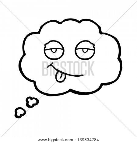 freehand drawn thought bubble cartoon tired eyes