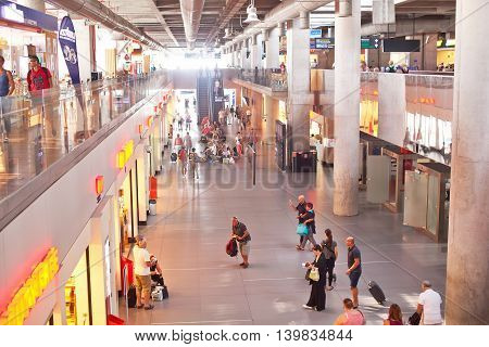 DALAMAN, TURKEY - 20 SEPTEMBER, 2015: International airport in the Dalaman cuty with many traveler.