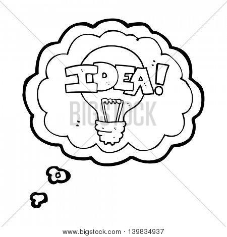 freehand drawn thought bubble cartoon idea light bulb symbol