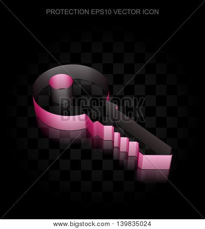 Privacy icon: Crimson 3d Key made of paper tape on black background, transparent shadow, EPS 10 vector illustration.