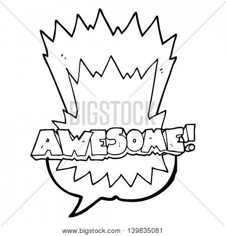 awesome freehand drawn speech bubble cartoon shout