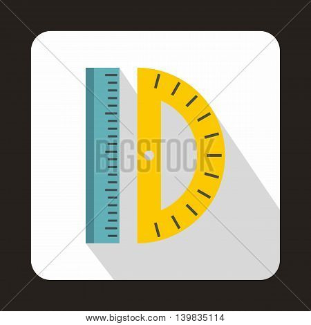 Ruler and protractor icon in flat style on a white background
