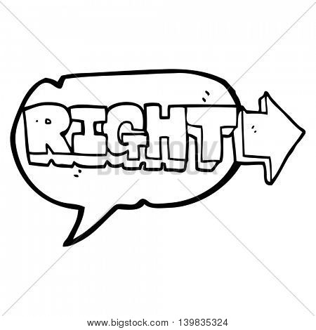 freehand drawn speech bubble cartoon right symbol