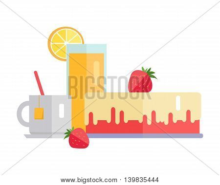 Dessert concept web banner. Vector in flat design. Collection of various sweets and drinks juice, tea, strawberry, cake on white background for diet, menus, signboards illustrating, web design.