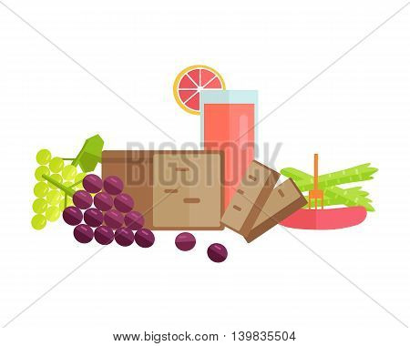 Group of food vector illustrations. Flat design. Collection of various food bread, juice, sausage, fruits and vegetables on white background for diet, menus, signboards illustrating, web design.