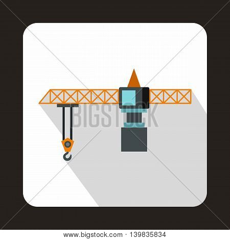 Hoisting crane icon in flat style on a white background