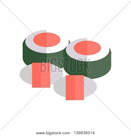 Sushi vector Illustration. Flat design. Traditional japan food concept. Snack with rice and salmon fish illustration for restaurant, cafe, bar menu, icons, web design. Isolated on white background.