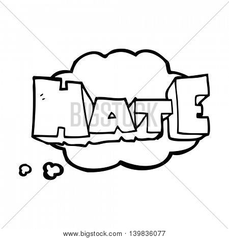 freehand drawn thought bubble cartoon word Hate
