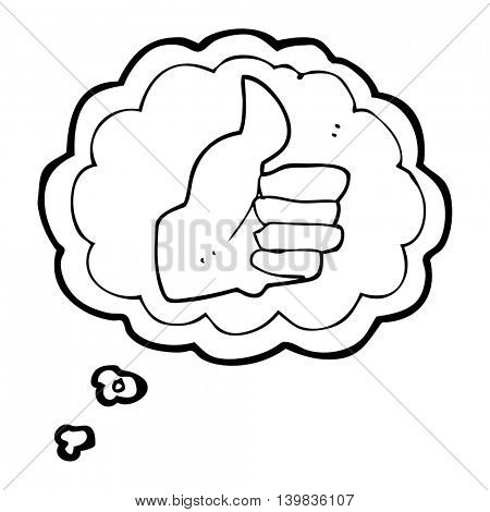 freehand drawn thought bubble cartoon thumbs up symbol