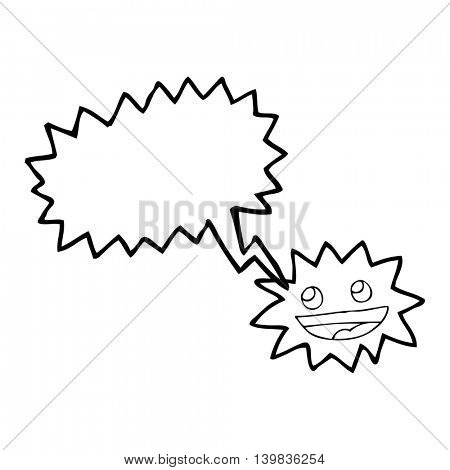 freehand drawn speech bubble cartoon star with face