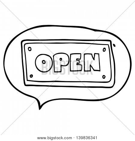 freehand drawn speech bubble cartoon open sign