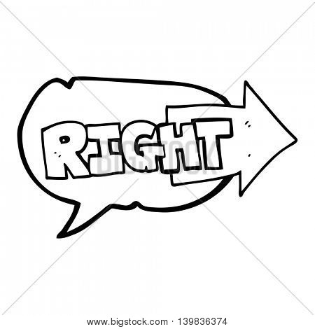 freehand drawn speech bubble cartoon right symbol pointing