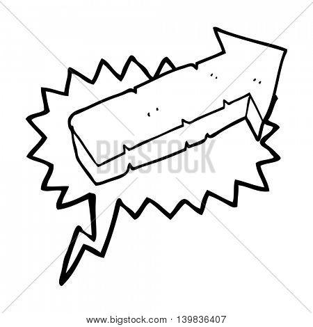freehand drawn speech bubble cartoon stone pointing arrow