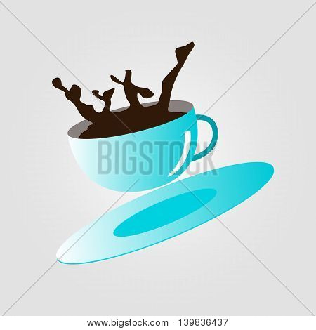 Cup that spill hot coffee. Vector illustration.