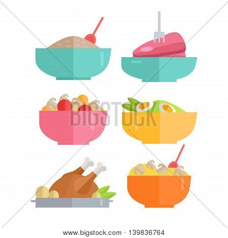 Set of Traditional Dishes Vectors. Flat design. Healthy eating concept. Porridge, steak, salad, poultry pictures for for culinary recipes, cafe menu, cooking, diet illustrating.