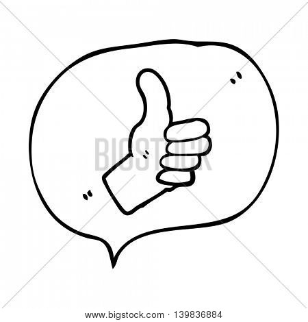 freehand drawn speech bubble cartoon thumbs up sign