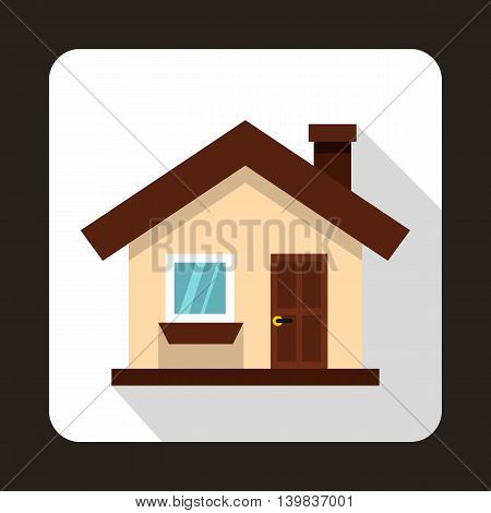 Small cottage icon in flat style on a white background