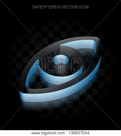 Protection icon: Blue 3d Eye made of paper tape on black background, transparent shadow, EPS 10 vector illustration.