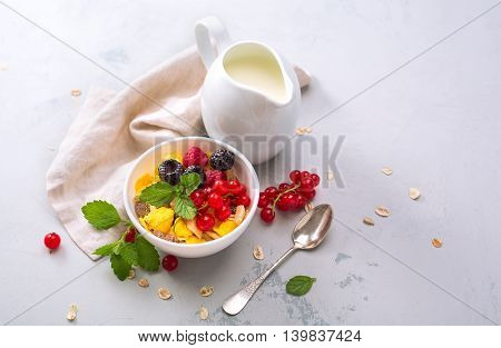 Delicious granola with berries and milk. Healthy breakfast. Food background with copyspace