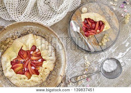 Top View Of Rustic Fruit Tarts.