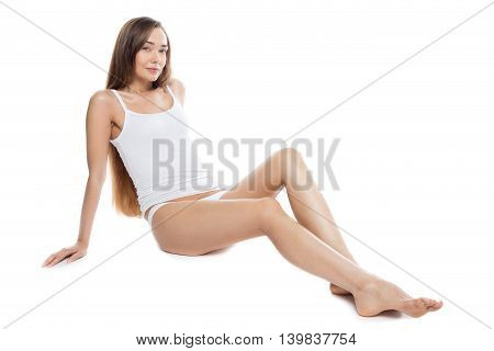 Beautiful Girl With Long Legs Studio Portrait
