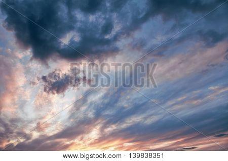 Evening sky with dramatic clouds. Karelia Elm lake.