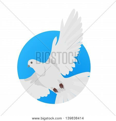 Pigeon vector. Religion, wedding, peace, pacifism, concept in flat design. Illustration for religion attributes, childrens books illustrating. White pigeon flying wings spread isolated on white.