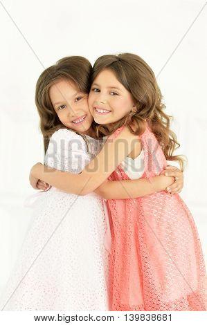 Portrait of a of cute little girls posing