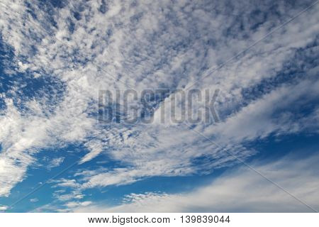 Natural blue sky with clouds formation
