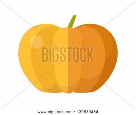Pumpkin vector in flat style design. Vegetable illustration for conceptual banners, icons, app pictogram, infographic, and logotype elements. Isolated on white background.