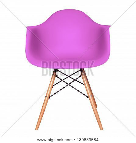 Purple color chair, modern chair isolated on white background. Plastic furniture chair cut out.