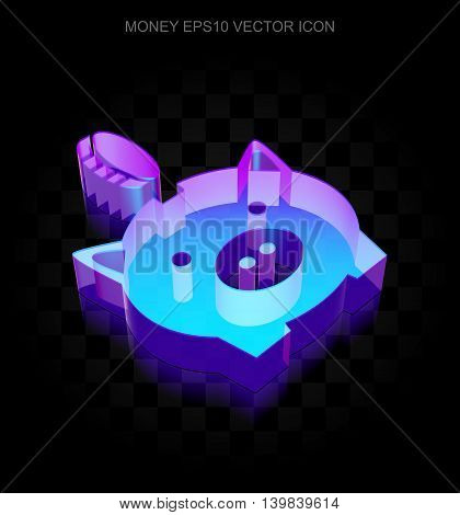 Currency icon: 3d neon glowing Money Box With Coin made of glass with transparent shadow on black background, EPS 10 vector illustration.