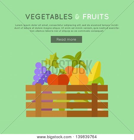 Fruits vegetables vector banner. Flat design. Illustration of wooden box full of fresh farm plants on color background for web design. Farming concept with apple, corn, pear, beets, grapes.