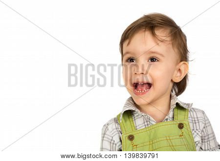 Cute smiling baby girl isolated on white background