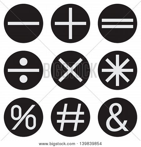 Basic Mathematical symbols on black background. Vector illustration EPS 10.