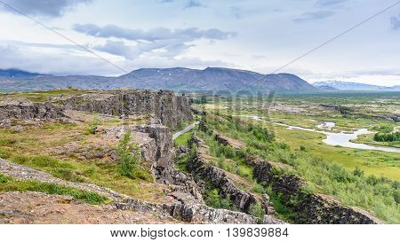 Beautiful view in Thingvellir National Park Southern Iceland selective focus