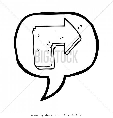freehand drawn speech bubble cartoon arrow