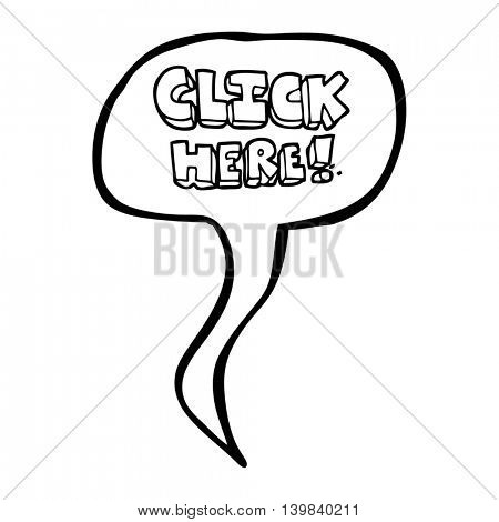 freehand drawn speech bubble cartoon click here word symbol