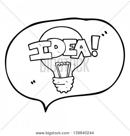 freehand drawn speech bubble cartoon idea light bulb symbol