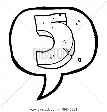 freehand drawn speech bubble cartoon stone number five