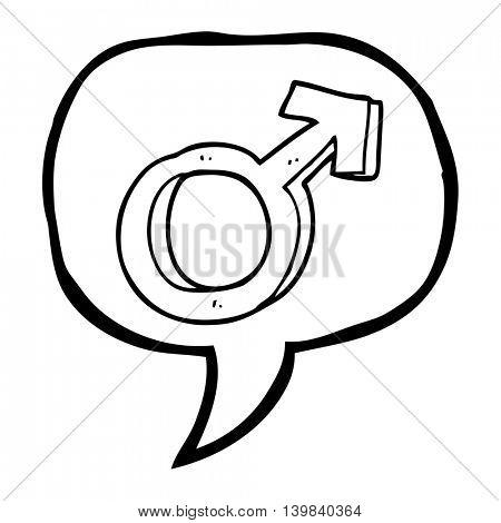 freehand drawn speech bubble cartoon male symbol