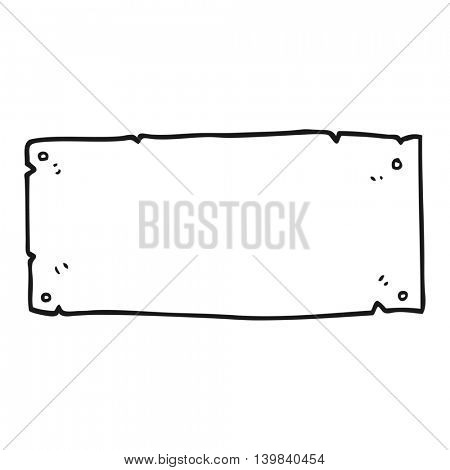 freehand drawn black and white cartoon blank sign