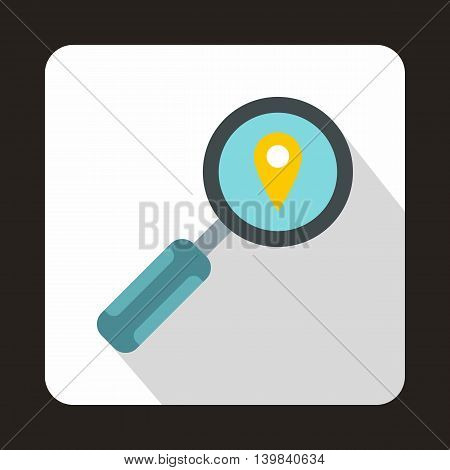 Magnifying glass and pin pointer icon in flat style on a white background