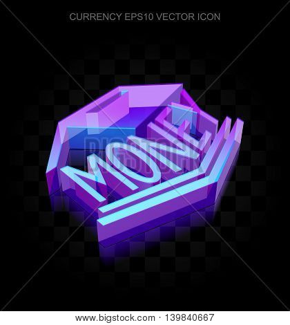 Money icon: 3d neon glowing Money Box made of glass with transparent shadow on black background, EPS 10 vector illustration.